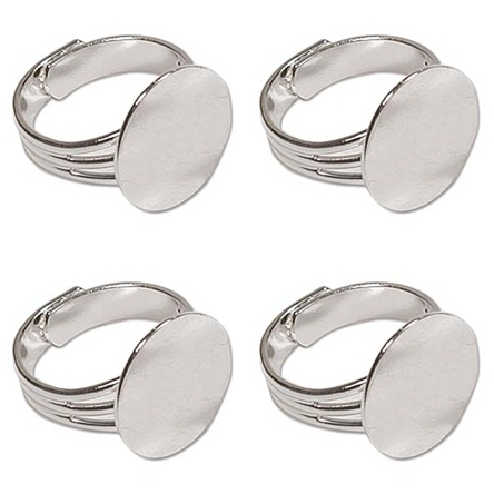 100 Silver Plated Adjustable Ring Blanks Flat Round 16mm