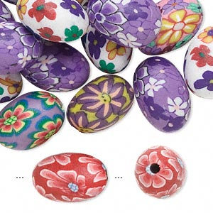 36 Polymer Poly Fimo CLAY Bead Mix ~ Bright Flower Design ~ Orange Pink Floral